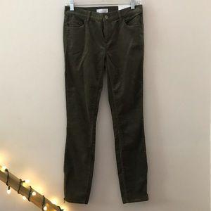 Loft Modern Skinny Olive Green Corduroy Pants